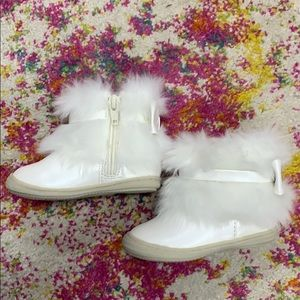 Furry White Boots for Baby